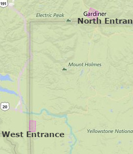 Map of Yellowstone National Park, WY hotels