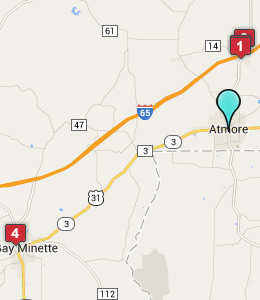 Map of Atmore, AL hotels
