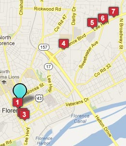 Map of Florence, AL hotels