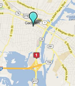 Map of Gadsden, AL hotels