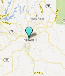 Map of Haleyville, AL hotels