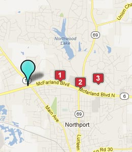 Map of Northport, AL hotels