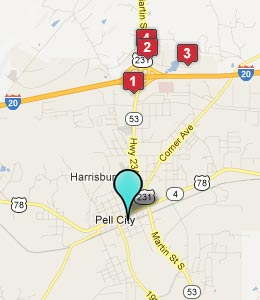 Map of Pell City, AL hotels