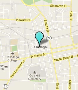 Map of Talladega, AL hotels