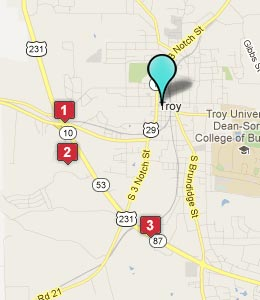 Map of Troy, AL hotels