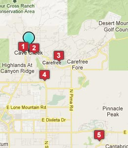Map of Cave Creek, AZ hotels