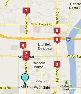Map of Goodyear, AZ hotels