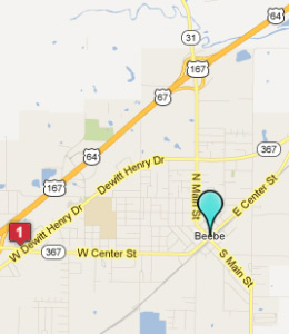 Map of Beebe, AR hotels