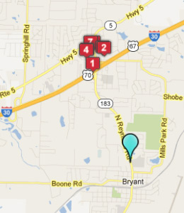 Map of Bryant, AR hotels