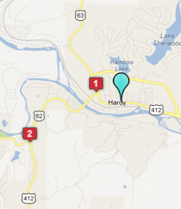 Map of Hardy, AR hotels
