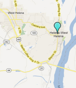 Map of Helena, AR hotels