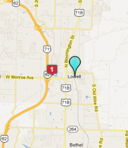 Map of Lowell, AR hotels