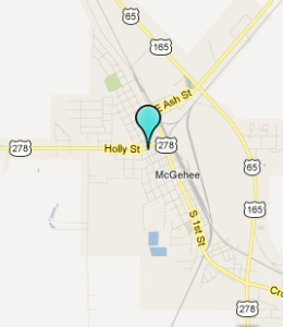 Map of McGehee, AR hotels