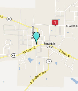 Map of Mountain View, AR hotels
