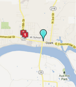 Map of Ozark, AR hotels
