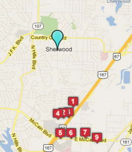 Map of Sherwood, AR hotels