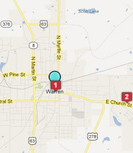 Map of Warren, AR hotels