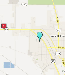 Map of West Helena, AR hotels
