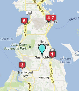 Map of Saanichton, BC hotels