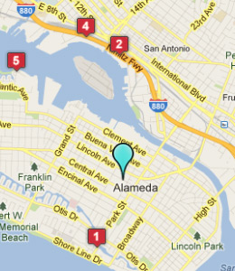 Map of Alameda, IN hotels