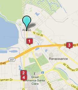 Map of Alviso, CA hotels
