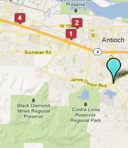 Map of Antioch, CA hotels