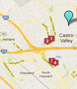 Map of Castro Valley, CA hotels