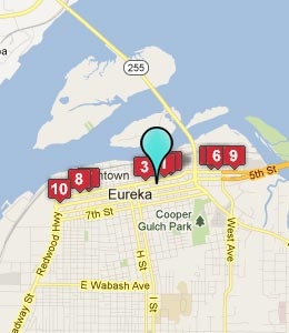 Map of Eureka, CA hotels