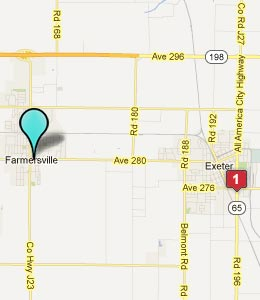 Map of Farmersville, CA hotels