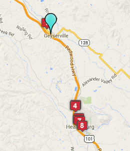 Map of Geyserville, CA hotels