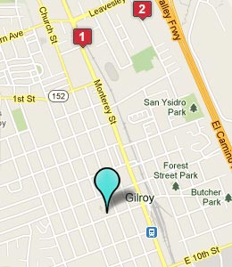 Map of Gilroy, CA hotels