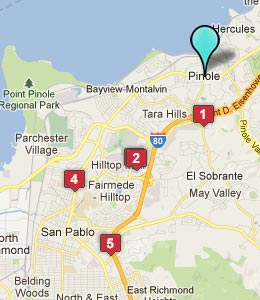 Map of Hercules, CA hotels