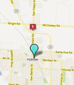Map of Hollister, CA hotels