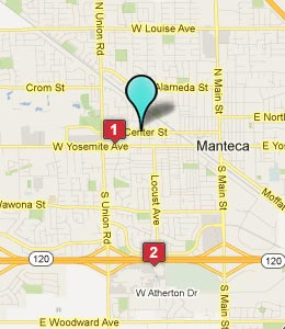 Map of Manteca, CA hotels