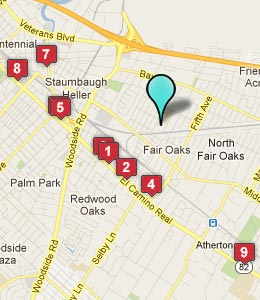 Map of North Fair Oaks, CA hotels