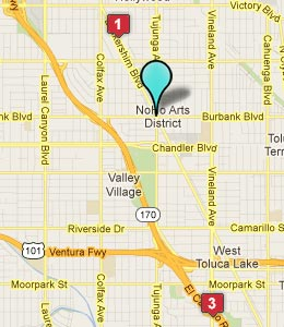 Map of North Hollywood, CA hotels