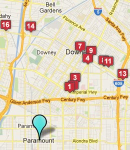 Map of Paramount, CA hotels