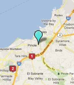 Map of Pinole, CA hotels