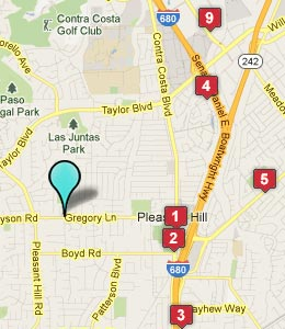 Map of Pleasant Hill, CA hotels