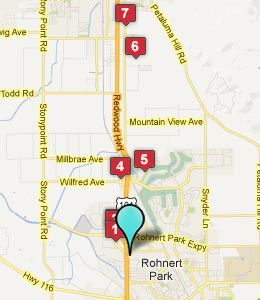 Map of Rohnert Park, CA hotels