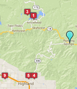 Map of Running Springs, CA hotels