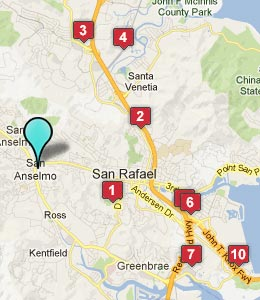 Map of San Anselmo, CA hotels