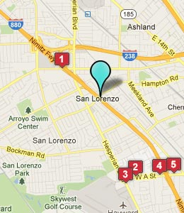 Map of San Lorenzo, CA hotels