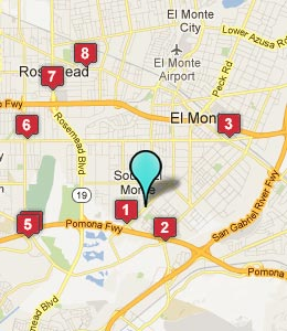 Map of South El Monte, CA hotels