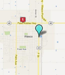 Map of Wasco, CA hotels