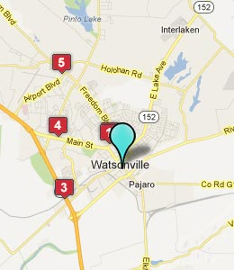 Map of Watsonville, CA hotels