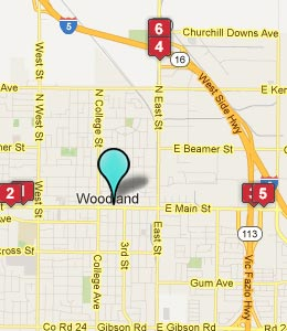 Map of Woodland, CA hotels