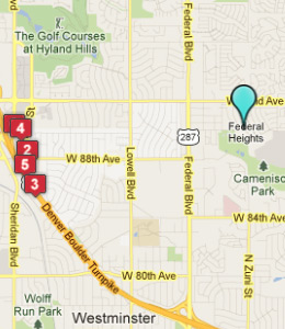Map of Federal Heights, CO hotels