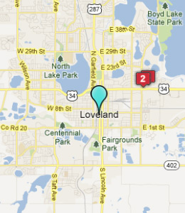 Map of Loveland, CO hotels