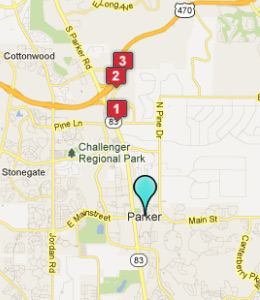 Map of Parker, CO hotels